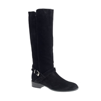 J.Crew Lowell Suede Buckle Boots With Extended Calf Black