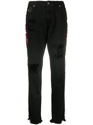 John Richmond Embroidered Tapered Jeans Black