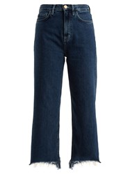 Mih Jeans Caron High Rise Wide Leg Cropped Dark Blue
