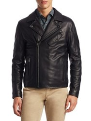Saks Fifth Avenue Modern Leather Asymmetrical Moto Jacket Black
