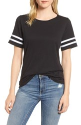 Gibson Stripe Sleeve Cotton Blend Athletic Tee Black With White
