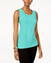 Jm Collection Jacquard Tank Top Only At Macy's Pacific Aqua