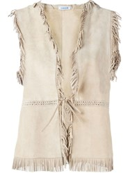 P.A.R.O.S.H. Fringed Suede Gilet Nude And Neutrals