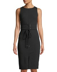 Bebe Corset Waist Midi Cocktail Sheath Dress Black