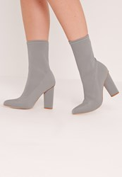 Missguided Pointed Toe Neoprene Heeled Ankle Boots Grey Grey