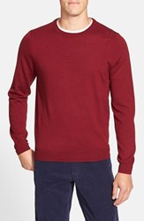 Men's Big And Tall Nordstrom Merino Wool Crewneck Sweater Red Rosewood