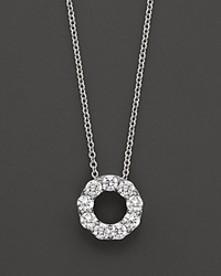 Bloomingdale's Diamond Circle Pendant Necklace In 14 Kt. White Gold 0.65 Ct. T.W. No Color