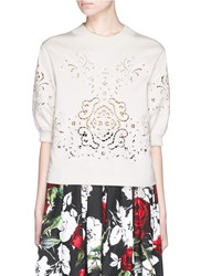Dolce And Gabbana Macrame Cutout Double Jersey Sweatshirt Neutral