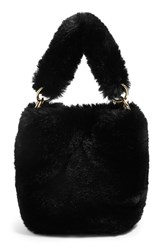 Topshop Teddy Faux Fur Bucket Bag Black