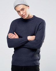 D Struct Chunky Ribbed Crew Neck Jumper Navy