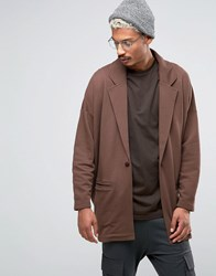 Asos Oversized Jersey Duster Jacket In Brown Sadlle Brown