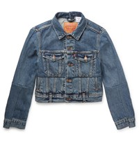 Vetements Levi's Cropped Patchwork Denim Jacket Blue