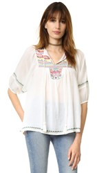 Christophe Sauvat Collection Long Sleeve Semi Sheer Shirt Off White Multi
