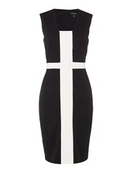 Episode Sleeveless Colour Block Shift Dress Black White Black White