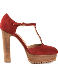 L'autre Chose Ridged Platform And Chunky Heel T Bar Sandals Red
