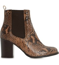 Dune Prynn Leather Snake Embossed Heeled Chelsea Boots Natural Reptile