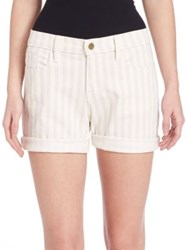 Frame Striped Rolled Denim Shorts Cypress