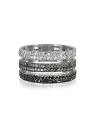 Bernard Delettrez Triple Band 18K White Gold Ring W White Grey And Black Diamonds
