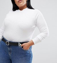 Asos Design Curve Tipped End Circle Buckle Jeans Belt Water Based Pu Black