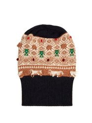 Barrie Twiggy Embroidered Cashmere Beanie Navy Multi