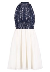 Lace And Beads Arriane Skater Cocktail Dress Party Dress Navy White Dark Blue
