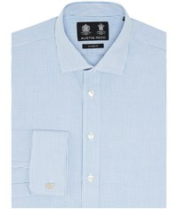 Austin Reed Classic Fit Fine Rope Stripe Shirt Blue