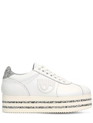 Chiara Ferragni 50Mm Leather And Glitter Platform Sneakers White Silver
