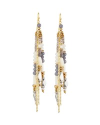 Nakamol Beaded Tassel Fringe Earrings Gray