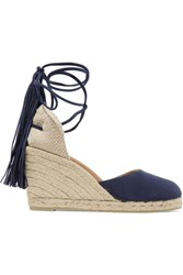Castaner Carina Fringed Suede Wedge Espadrilles Midnight Blue
