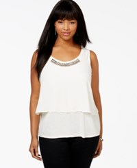 Jessica Simpson Plus Size Viola Embellished Tiered Sleeveless Top Black
