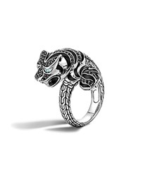 John Hardy Classic Chain Sterling Silver Lava Macan Ring With Black Sapphire Black Spinel And Swiss Blue Topaz Eyes Blue Black