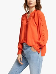 And Or Olivia Tassel Neck Blouse Orange