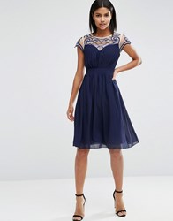 Little Mistress Embroidered Sweetheart Dress Navy