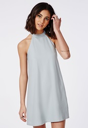 Missguided Crepe Halter Swing Dress Powder Blue Blue