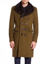 Burberry Elmford Fur Trimmed Wool And Cashmere Coat Olive Green