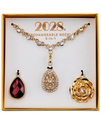 2028 Gold Tone Red And Clear Crystal 3 In 1 Interchangeable Pendant Necklace Box Set