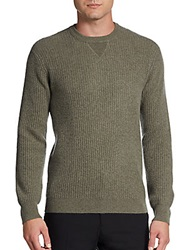 Saks Fifth Avenue Blue Waffle Knit Cashmere Pullover Olive