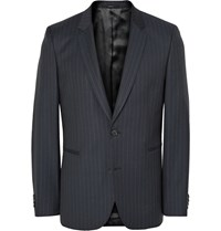 Paul Smith Navy Slim Fit Pinstriped Wool Suit Jacket Blue