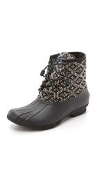 Sperry Saltwater Print Booties Black White Tribal