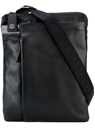 Borbonese Zipped Messenger Bag Men Leather Polyester One Size Black
