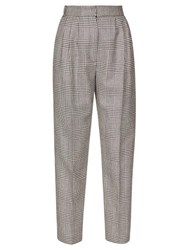 Alexander Mcqueen High Rise Prince Of Wales Checked Wool Trousers Black White