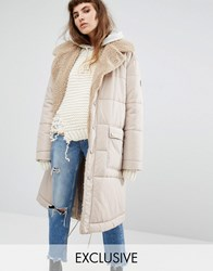 Puffa Oversized Maxi Bomber Jacket With Faux Shearling Shawl Collar Nude Tan