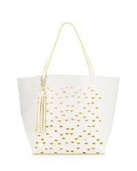 Deux Lux Laser Cut Contrast Trim Tote Bag White Yellow