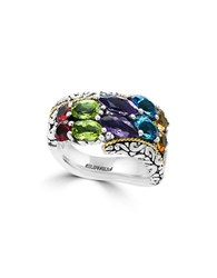 Effy 925 Amethyst Blue Topaz Peridot Sterling Silver And 18K Yellow Gold Scroll Ring
