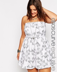 Asos Curve Bandeau Playsuit In Wild Flower Print White