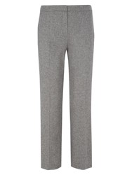 Viyella Petite Herringbone Straight Leg Trousers Grey