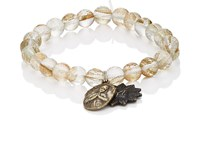Miracle Icons Men's Spiritual Icon Charms On Beaded Bracelet Gold