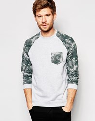 Esprit Sweatshirt With Tropcial Print With Raglan Sleeves Grey