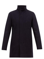 Herno Funnel Neck Wool Blend Overcoat Navy