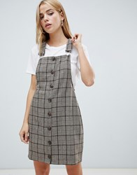 Daisy Street Dungaree Dress In Check Brown Check